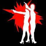 Shooting girl silhouette Royalty Free Stock Image