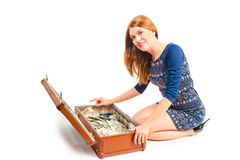 Shooting girls in studio with suitcase   Stock Photos