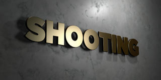 Shooting - Gold sign mounted on glossy marble wall  - 3D rendered royalty free stock illustration Stock Photos