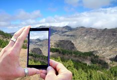 Shooting Gran Canaria mountains Royalty Free Stock Image