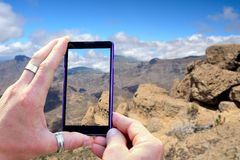 Shooting Gran Canaria mountains Stock Photography