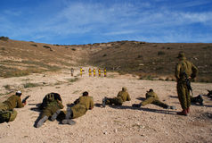 Shooting ground. Israeli soldiers training shooting war terror Stock Photo