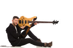 Shooting guitarist. Royalty Free Stock Photography
