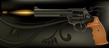Shooting gun. Shooting fashioned revolver on black background,  illustration Stock Photography