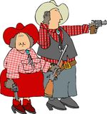 Shooting guns. This illustration depicts a man and woman dressed in cowboy attire and shooting guns Stock Photos