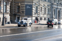 Shooting of the historical movie on the street of St. Petersburg on March 24, 2016. Stock Image