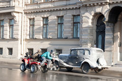 Shooting of the historical movie on the street of St. Petersburg on March 24, 2016. Royalty Free Stock Photos