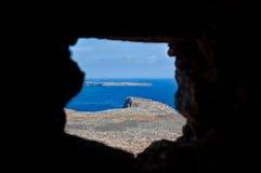 Shooting hole Island, Sea, Balos, Gramvousa, Crete Greece Royalty Free Stock Photography