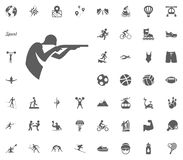 Shooting icon. Sport illustration vector set icons. Set of 48 sport icons. Shooting icon. Sport illustration vector set icons. Set of 48 sport icons Stock Photography