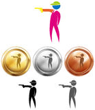 Shooting icon and sport medals. Illustration Stock Photos