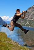 Shooting joven del fotógrafo Fotos de archivo