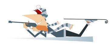 Shooting biathlon competitor. Shooting in the lying position biathlon competitor cartoon illustration Stock Photography