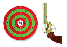Shooting mark with gun. Shooting mark with golden photo-realistic revolver gun isolated over white Royalty Free Stock Photography
