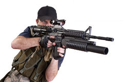 Shooting mercenary isolated Stock Photo
