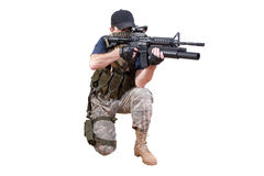 Shooting mercenary isolated Royalty Free Stock Photo