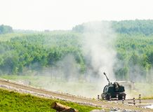 Shooting of 152 mm howitzer 2S19 Msta-S. Russia. Nizhniy Tagil, Russia - July 12. 2008: 2S19 Msta-S is self-propelled 152 mm howitzer. NATO name - M1990 Farm. It royalty free stock image