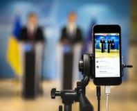 Shooting on a mobile phone. BRUSSELS, BELGIUM - Oct 20, 2016: Shooting on a mobile phone. Press Work during President of Ukraine Petro Poroshenko joint briefing Royalty Free Stock Photos