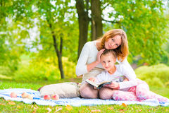 Shooting mother and daughter in the park Stock Photo