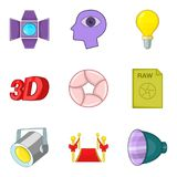 Shooting a movie icons set, cartoon style. Shooting a movie icons set. Cartoon set of 9 shooting a movie vector icons for web isolated on white background Royalty Free Stock Photography