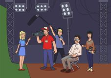 Shooting a movie or a TV show. A director, cameramen and an actress or model. Vector illustration.  Royalty Free Stock Photography