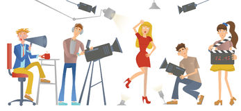 Shooting a movie or a TV show. A director with a loudspeaker, cameramen and an actress or model. Vector illustration. Stock Photos