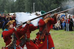 Shooting by musket Stock Photography