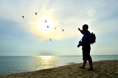 Shooting near the beach when sun rising Royalty Free Stock Image
