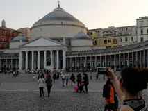Shooting at Piazza Plebiscito, Naples royalty free stock photography
