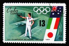 Shooting from a pistol, Olympic games in Mexico, circa 1968 Royalty Free Stock Photography