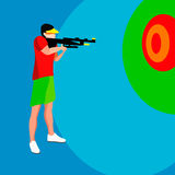 Shooting Player Summer Games. 3D Isometric Shooter Athlete. Sporting Championship International Shooting Competition. Sport Shooti Stock Images
