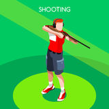 Shooting Player Summer Games Icon Set.3D Isometric Shooter Athlete.Sporting Championship International Shooting Competition Royalty Free Stock Photography