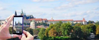Shooting Prague on mobile phone Royalty Free Stock Photos