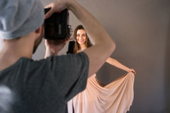 Shooting in prom dress. Stock Images