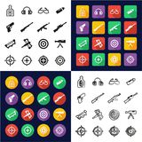 Shooting Range All in One Icons Black & White Color Flat Design Freehand Set Royalty Free Stock Image