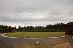 Shooting Range For Skeet - Shelters For Throwing Machines Royalty Free Stock Photography