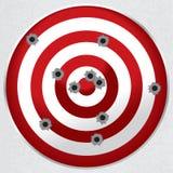 Shooting Range Gun Target with Bullet Holes. Red and white shooting range target shot full of bullet holes vector illustration