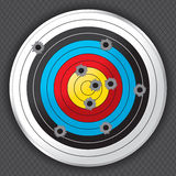 Shooting Range Gun Target with Bullet Holes. Shooting range target shot full of bullet holes. Bullet holes, target and background are layered for easy separation stock illustration