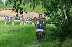 Shooting range outdoors. There are a lot of targets in the shooting range outdoors Stock Photography