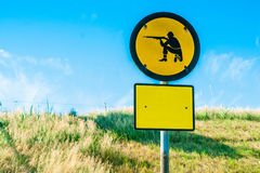 Shooting range sign in yellow Royalty Free Stock Images