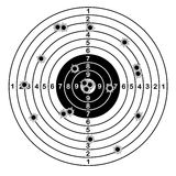 Shooting range target shot of bullet holes. vector illustration. Royalty Free Stock Image