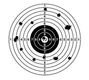 Shooting range target shot of bullet holes. vector illustration. Royalty Free Stock Photography
