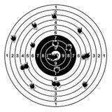 Shooting range target shot of bullet holes, vector illustration. Stock Photography