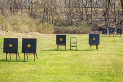 Shooting range with targets for archery Stock Images