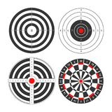 Shooting range targets vector icons template for darts and gun shoot aims. Shooting range targets vector icons templates. Isolated set of round target for darts Stock Photos