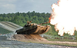 Shooting russian tank stock images