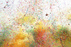 Shooting salute smoke and colorful confetti Royalty Free Stock Photo