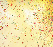 Shooting salute smoke and colorful confetti Royalty Free Stock Photos