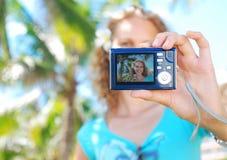 Shooting self portrait Stock Photo