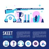 Shooting Skeet. Round icons. Set of  design elements. Accessories for Skeet shooting Stock Images