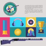 Shooting Skeet. Set of colored  design elements. Vector il. Lustration Stock Photo